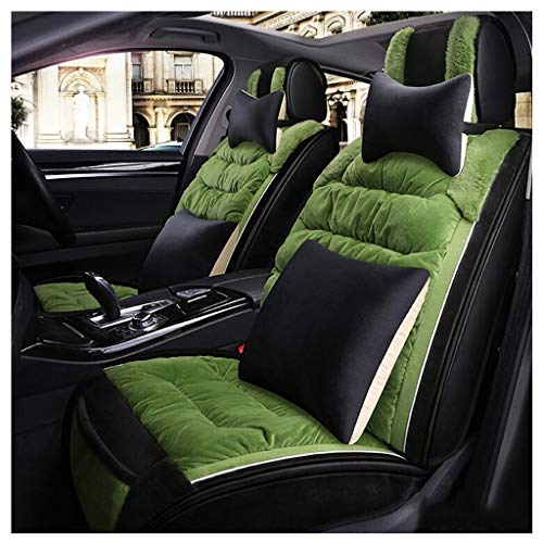 ADHW Luxury Car Seat Cover Sets,Thicken Full Surrounded Short Plush/Down Cotton Car Seat Cushion for Front and Rear 5-Seats,9 Piece Set (Color : Green)