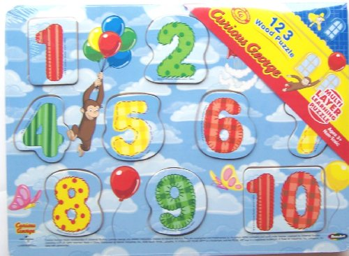 Curious George 123 Numbers Wood Puzzle RoseArt ()