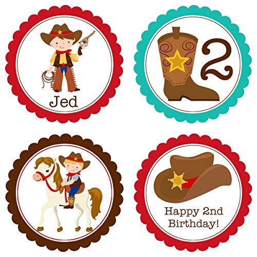 Moira Cowboy Party Circles Turquoise Brown Red Western Cowboy Hat Horse Shoe Personalized Birthday Party Circles A Digital Printable File ()