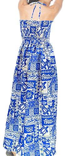 Azul de LA Mujeres Likre Maxi Suave Ropa Las Halter h270 Vestido LEELA Corte Largo de Encubrir Largo Tubo Playa 88rqTA