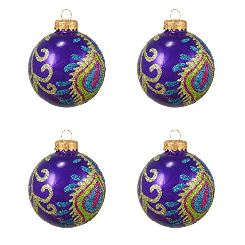 Northlight 4ct Purple Peacock Glittered Glass Ball Christmas Ornaments 2.5