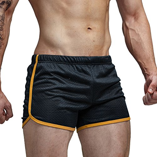 AIMPACT Men's Shorts Swimming Trunks Causal Active Mesh Shorts for Men(AC11Black M)