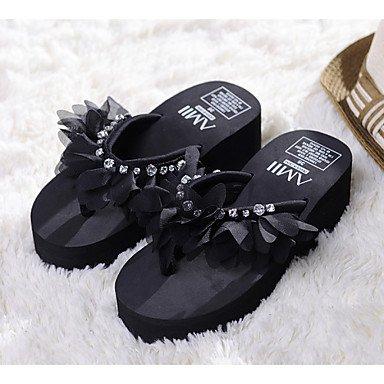 Women'szapatos de plataforma de tela Flip Flops Sandals exteriores / vestimenta casual / Negro / Almendra US5.5 / EU36 / UK3.5 / CN35