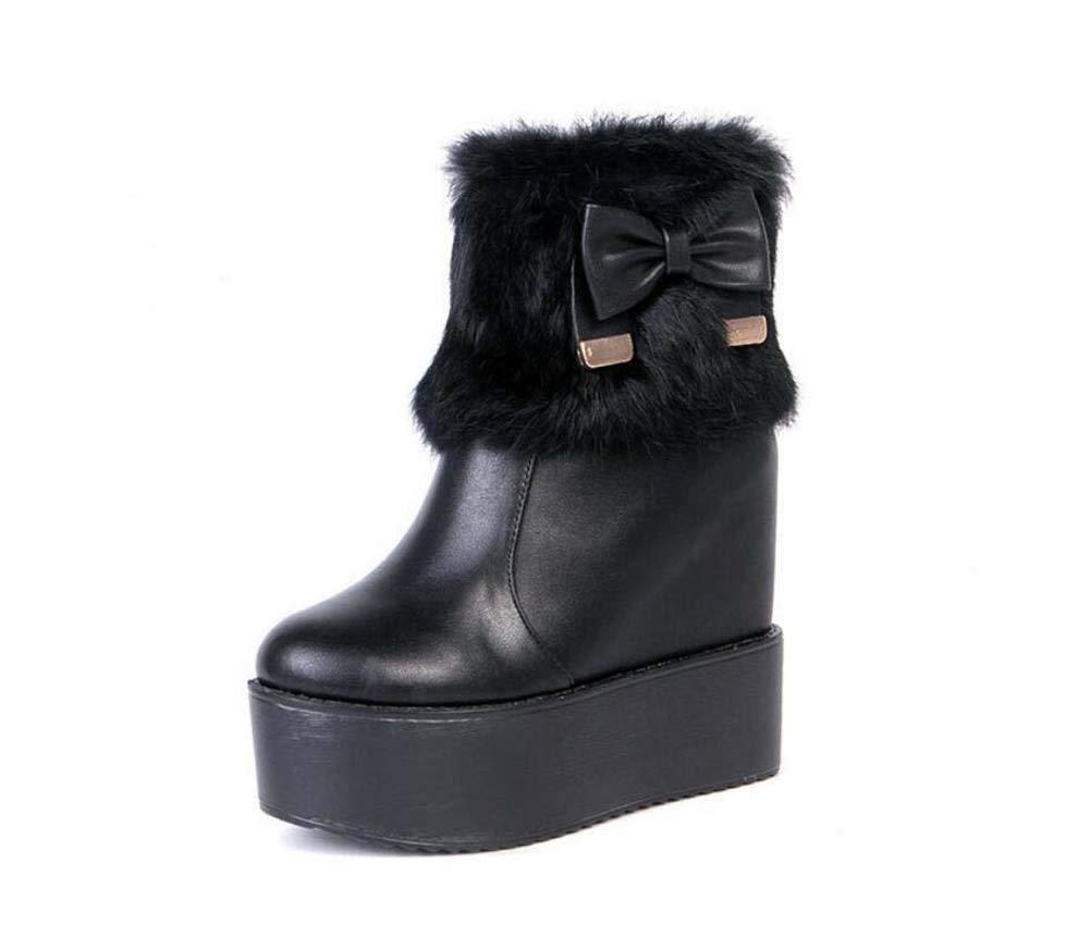 Noir 14Cm Wedge Talon Bottines Chaussures Martin Bottes Femmes Ronde Orteil 6Cm Plate-Forme De Peluche Bowknot Robe De Mariée chaussures UE Taille 34-40 39EU