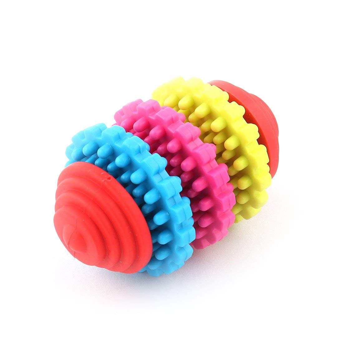 Pet Dog Tooth Training 3 Wheel Chewing Gear Bone Toy Multicolor