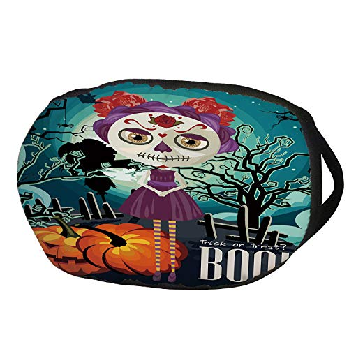 Fashion Cotton Antidust Face Mouth Mask,Halloween,Cartoon Girl with Sugar Skull Makeup Retro Seasonal Artwork Swirled Trees Boo Decorative,Multicolor,for women & men ()
