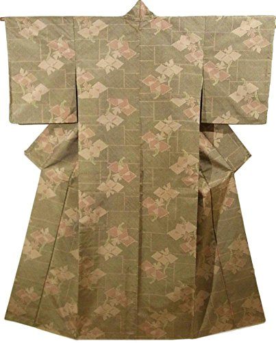 クロスなすコウモリリサイクル 着物 紬 花模様 正絹 袷 裄62cm 身丈155cm