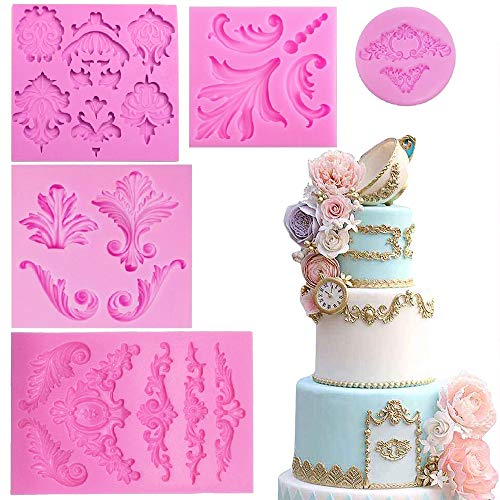 Clay Lace - Baroque Style Curlicues Scroll Lace Fondant Silicone Mold for Sugarcraft, Cake Border Decoration, Cupcake Topper, Jewelry, Polymer Clay, Crafting Projects, 5 in Set by Palksky