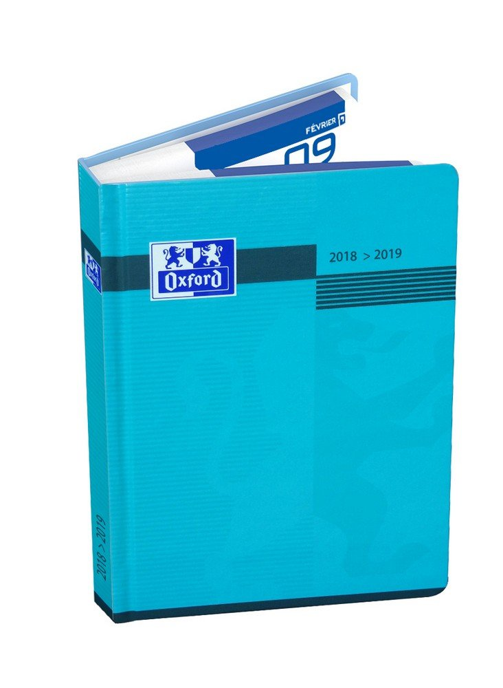 Oxford Magic Agenda scolaire journalier 2018-2019 1 jour par page 352 pages 12 x 18 cm Bleu 400093765