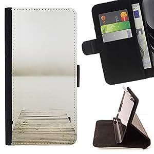 For Samsung Galaxy J3(2016) J320F J320P J320M J320Y Case , Pier mar metáfora profunda de Lonely Gris- la tarjeta de Crédito Slots PU Funda de cuero Monedero caso cubierta de piel
