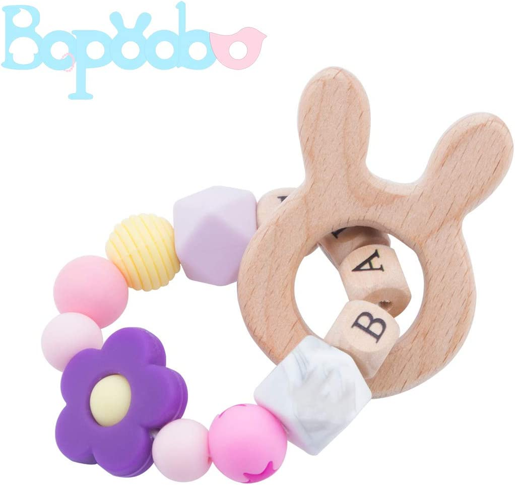 The Rabbit bopoobo Teether Baby Teething Toy 100/% Infant Safe Chewable Silicone and Wood Teething Ring