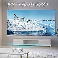 Proyector TAOCOCO Mini Portátil Proyector de Cine en Casa 3800 Lúmenes Altavoces Duales Incorporados 50000 Horas Soporte HD 1080P ...