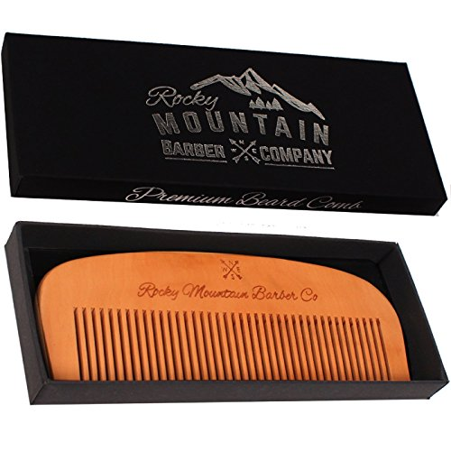 Hair Comb – Wood with Anti-Static  No Snag Handmade Brush for Beard, Head Hair, Mustache with High Quality Design in Gift Box by Rocky Mountain