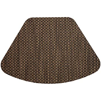 Beau Set Of 2 Driftwood (Black U0026 Tan) Wipeable Wedge Shaped Placemats For Round