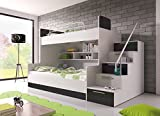 BUNK BED 'TALA' WITH MATTRESSES for 2 children, FUNCTIONAL DESIGN, HIGH GLOSS INSERTS (White with Black Details)