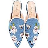 Lovirs Women's Denim Velvet Backless Slip On Loafers Flats Embroidery Mule Slippers Shoes 8 M US