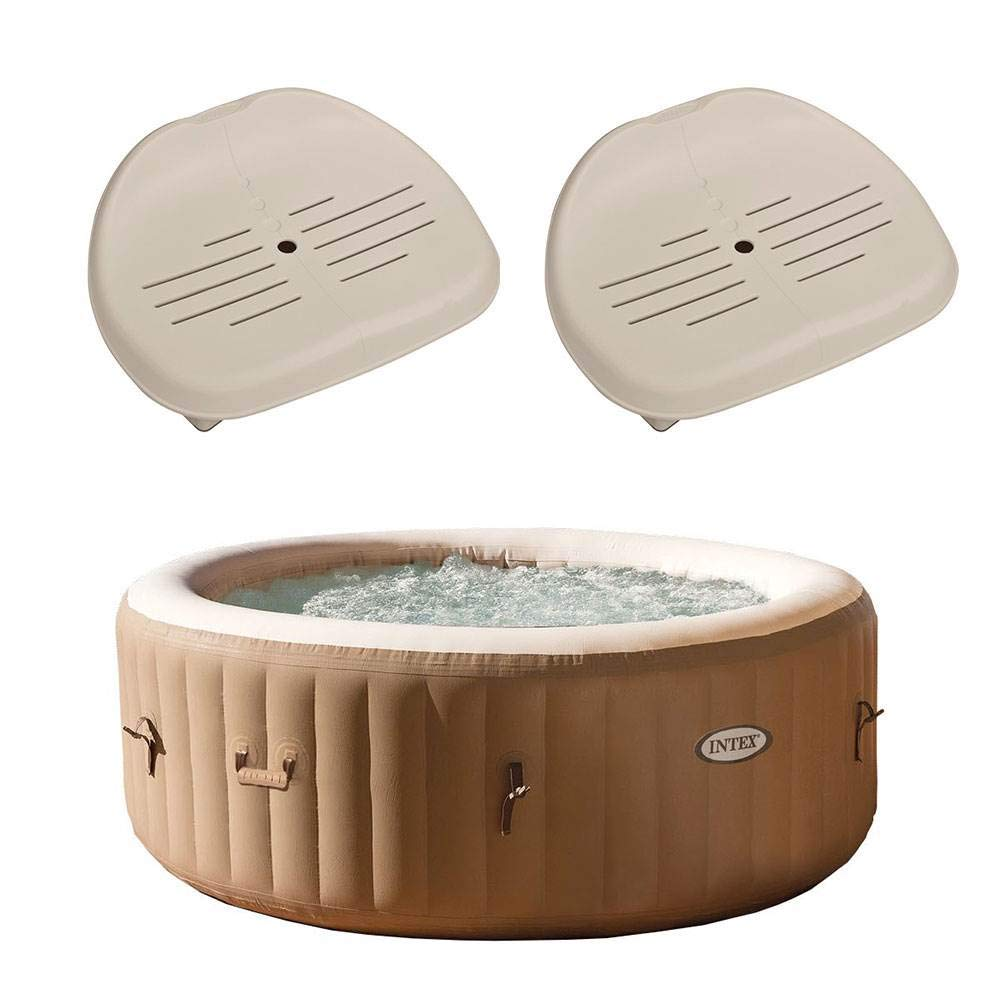 Intex PureSpa 4-Person Inflatable Bubble Jet Spa Portable Hot Tub, Tan 28403E Removable Slip-Resistant Seat for Inflatable Pure Spa Hot Tub 28502E 2 Pack