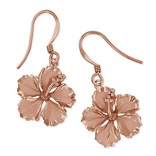 14kt Rose Gold Plated Sterling Silver 5/8 Inch Hibiscus Dangle - Silver Hibiscus Ring