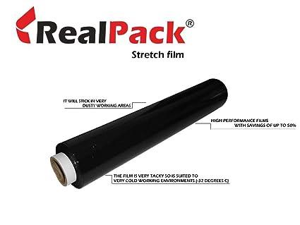 realpack® Schrumpffolienverpackung, Rolle, Schwarz, für Paletten/Verpackungen, Guss, robust, elastisch, 400 mm x 300 m, 1 x R