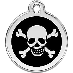 Red Dingo Personalized Skull & Cross Bones Pet ID Dog Tag (Small Black)