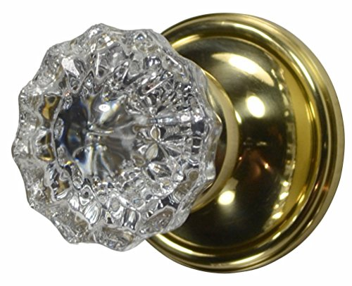 Regency Fluted Real Glass Door Knob Set with Victorian Plate Rosette in Polished Brass (Privacy Bed/Bath)