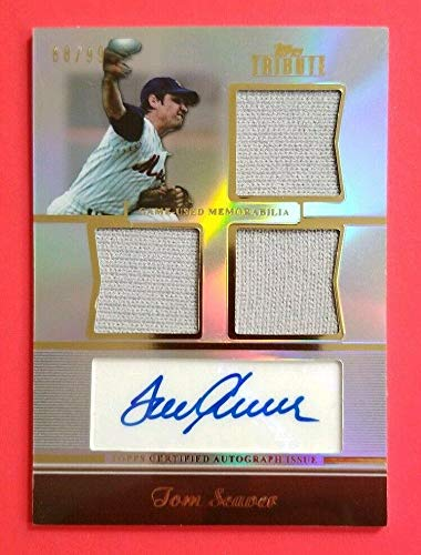 - Tom Seaver 2011 Topps Tribute Certified Auto And Triple Jersey Relic Card 68/99 - Baseball Autographed Game Used Cards