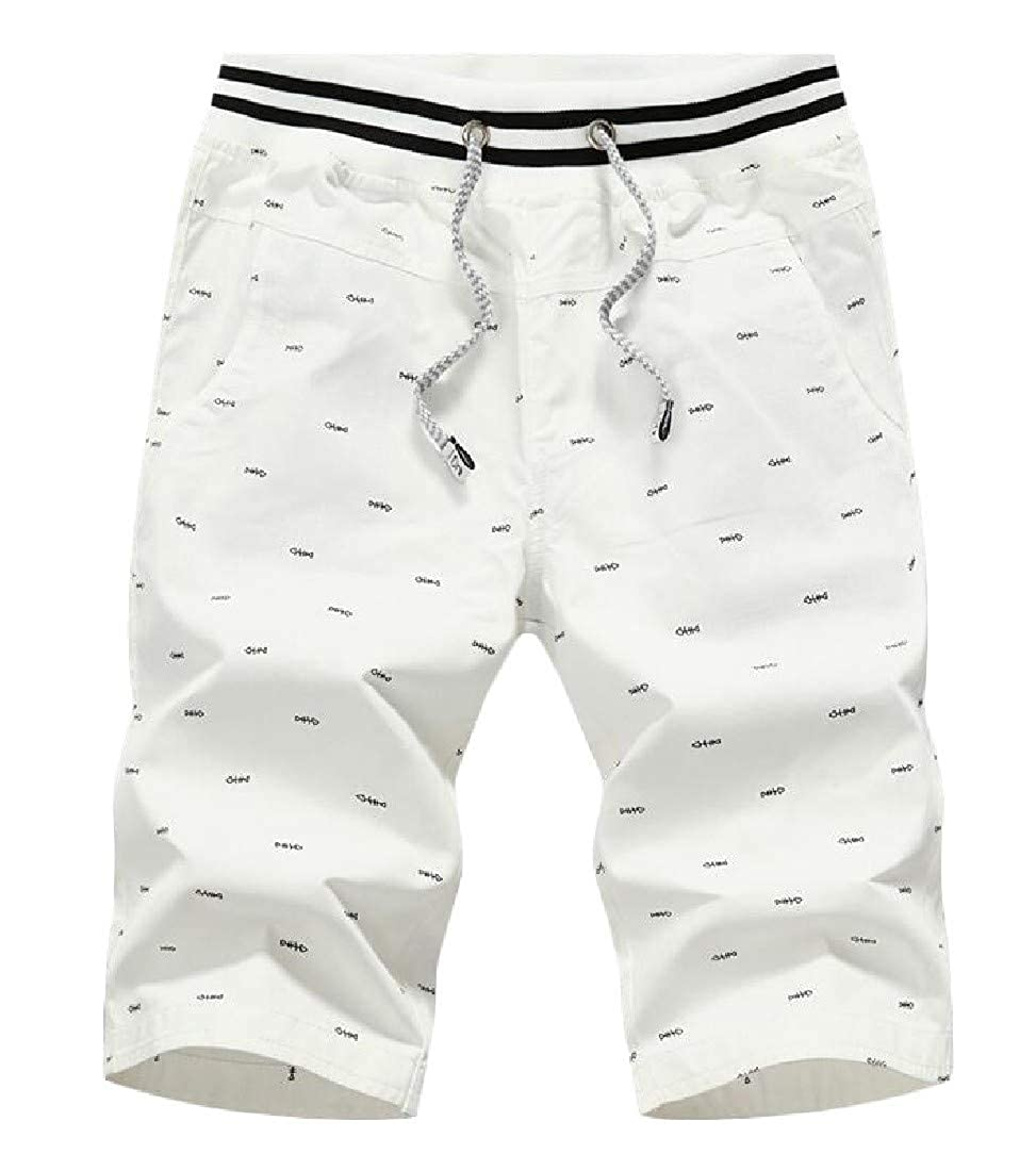 Cromoncent Mens Summer Casual Waist Drawstring Printed Beach Capri Pants