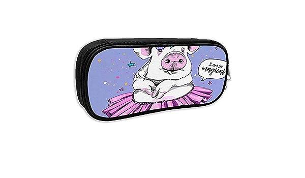 Estuche para lápices escolares, Cerdo de dibujos animados Cerdo lindo en una máscara de tutú de bailarina con bolsa de papelería de oficina I Am So Magical C Bag: Amazon.es: Oficina y
