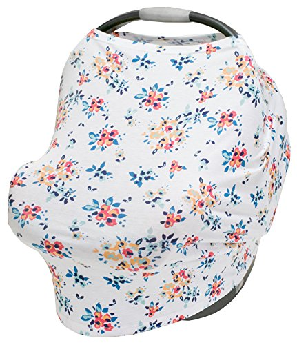 LulaBaby - 360° 4-in-1 Stretchy Baby Nursing Cover, Car Seat Canopy, and Shopping Cart Cover (WHITE FLORAL) (Cover Toddler Floral Car Seat)