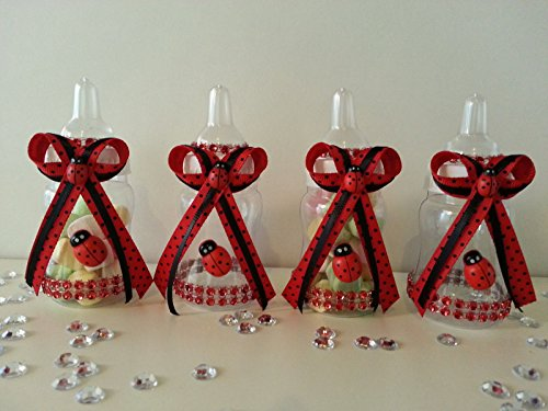 12 Fillable Ladybug Bottles for Favors Prizes or Games Baby Shower Decorations (Ladybug Baby Shower Favors)