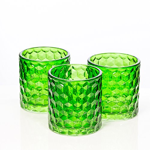 Richland Green Chunky Honeycomb Glass Votive & Tealight Candle Holder Set of 6