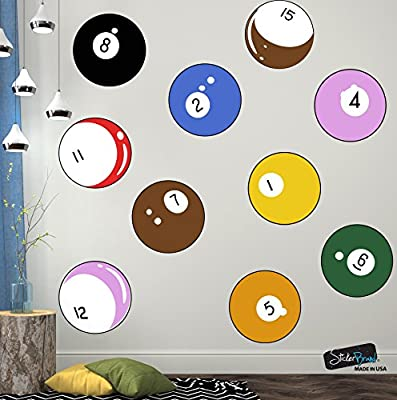 15 Billiard Balls Wall Decal Stickers Printed Graphic Game Room Decor Vinyl Wall Art. By Stickerbrand. Easy to Apply & Removable.