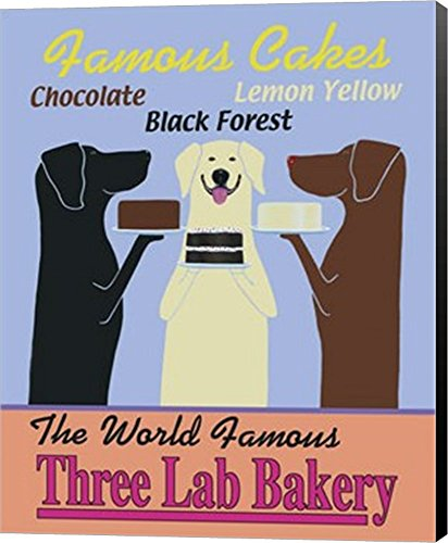 Three Lab Bakery by Ken Bailey Canvas Art Wall Picture, Museum Wrapped with Black Sides, 8 x 10 inches