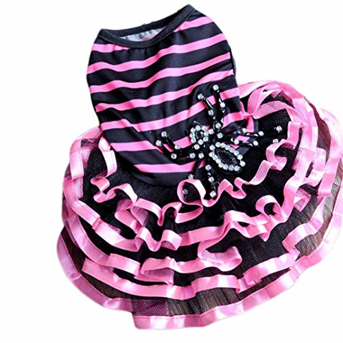 Image of Urparcel Pet Dog Lace Tutu Dress Striped Spider Skirt Princess Clothes Rose M