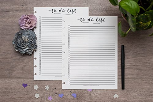To Do List for Letter Size Disc Bound Planners, Fits Circa, Arc, TUL, 8.5''x11'', Script Checkboxes by Natalie Rebecca Design