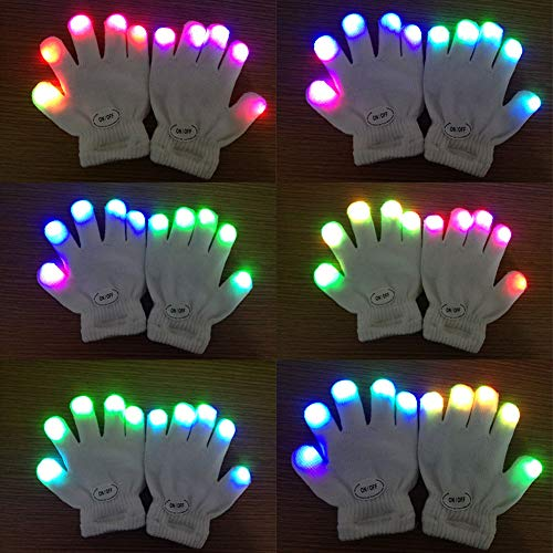 Balai Colorful Flashing Finger Lighting Gloves Girls Boys Toys Kids Children Games Easter Best Christmas Stocking Stuffer ()