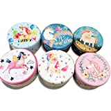 Diy Coffee Table Ideas NICROLANDEE 6pcs Unicorn Containers with Lids Vintage Storage Box Tin Candle Making Containers Round Shape Coffee Tea Leafs Cans Holder Jewelry Gift Box 6 Inch