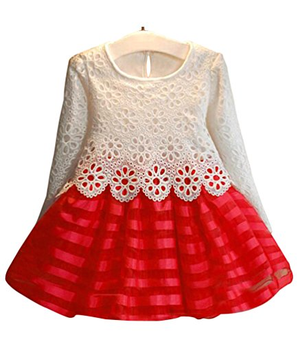 Kids Girls Long Sleeve Crochet Pageant Party Dress Princess Christmas Dress Red(US 6-7T,Tag 140)