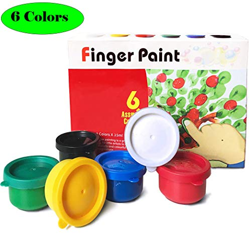 Magicdo 6 Colors Finger Paints, Non Toxic Washable Finger Paint for Toddlers, 6 X 35 ml (1.18 fl.oz)