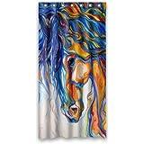 Custom Waterproof Bathroom Art Zebra Horse Shower Curtain Polyester Fabric 36w
