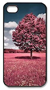 IMARTCASE iPhone 4S Case, Beautiful Pink Flower Field PC Black Hard Case Cover for Apple iPhone 4S/5