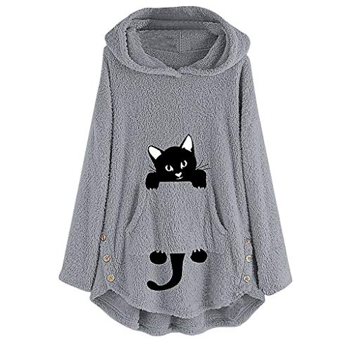 Womens Cat Embroidery Plus Size Warm Hoodie Top Pullover Sweatshirt Blouse Gray