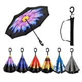iWINTOP Purple and Yellow Flower Car Reversible Umbrella Inverse Reversed Inverted UV Proof Windproof Straight Sturdy Outdoor Big Rain Umbrella Humanized hands free C Handle
