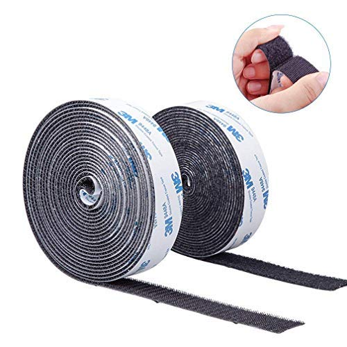 Self Adhesive Hook and Loop Tape Roll 3M Sticky Back Fastening Tape 1 inch 16 feet Black for Hanging of Photo Album and Decorations by 10Gtek