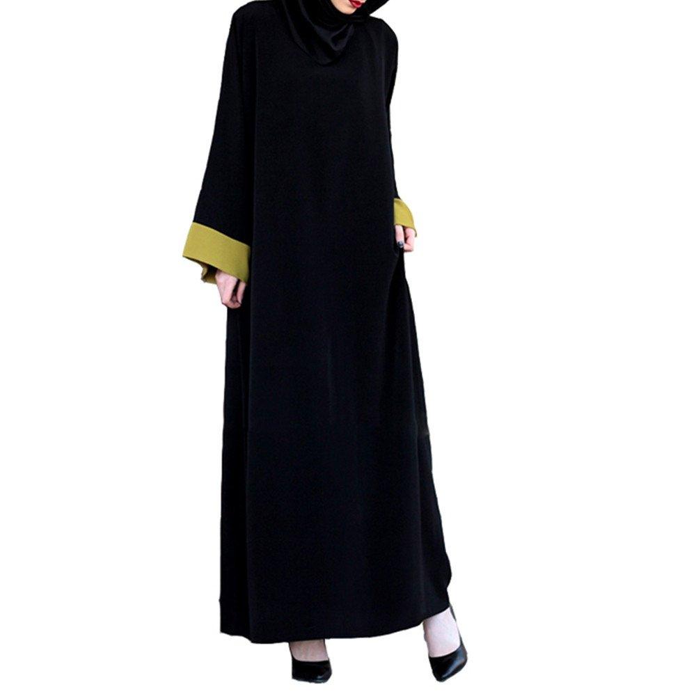 Overmal Muslim Women Islamic Splice Pure Color Plus Size Middle East Long Dress