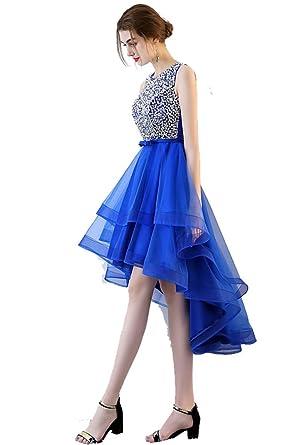 0dbfc9e196dc Beauty-Emily Wedding Dresses Women's Blue Elegant Beaded Tulle Fashion A  line Prom Party Dress