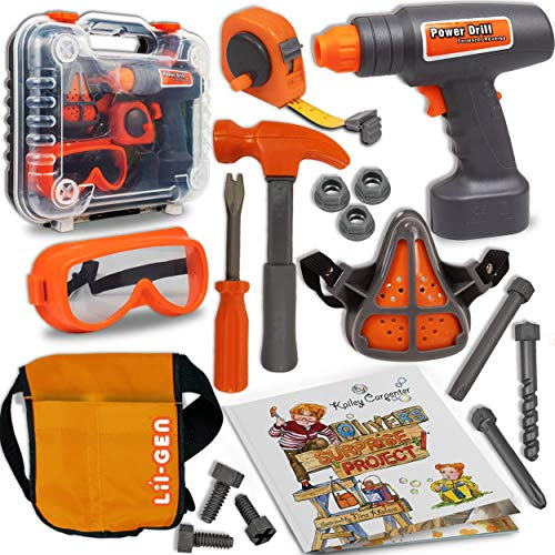 Li'l-Gen Kids Tool Set with Book, 16 Pieces Tools Plus Case - Includes Oliver's Surprise Project! Book Pretend Play Toys for Boys and Girls Age 3+, (Toy Box Neutral)