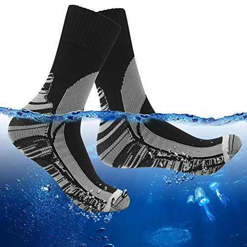 (RANDY SUN Mid-Calf Waterproof Socks, Men's Hiking Trail Running Socks for Athletic Windproof Socks 1 Pair (Black&Gray,Large))