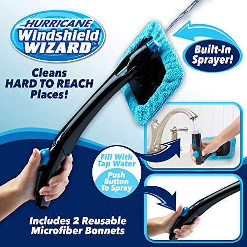 Hurricane Windshield Wizard Car Window Cleaner Kit with Reusable Microfiber Bonnets & Built-in Water Spray System—The Windshield Cleaner to Clean and Polish Glass Like Magic by Hurricane (Image #6)