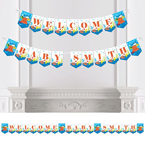 Big Dot of Happiness Personalized Under the Sea Critters - Custom Baby Shower Bunting Banner and Decorations - Welcome Baby Custom Name Banner